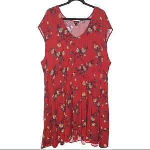 Red Orange Floral Challis Skater Dress Size 4
